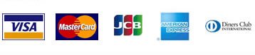 VISA, Master Card, JCB, American Express, Diners Club